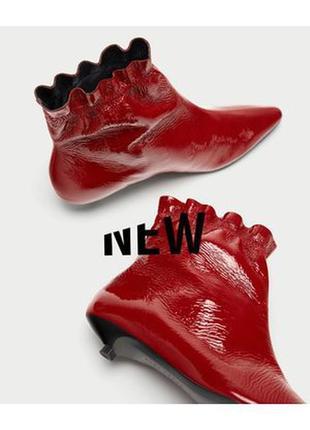 Натуральные лаковые красные ботинки на невысоком каблуке zara