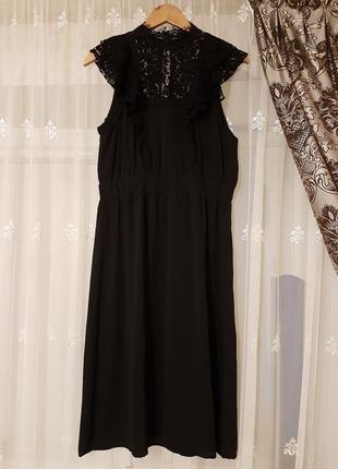 Элегантное вечернее кружевное платье миди h&m.