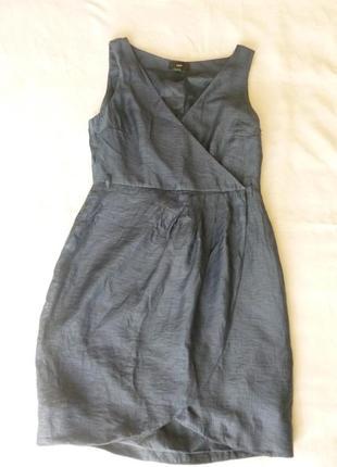 Летняя распродажа!!! серо-синее красивое элегантное платье футляр на подкладке h&m