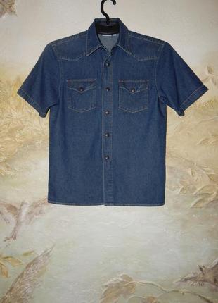 Джинсовая темно - синяя рубашка на кнопках на 7-10 лет