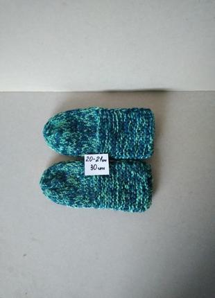 Вязаные тапочки следки носки носочки теплые зеленые шерсть + акрил р. 33-34 20-21 см