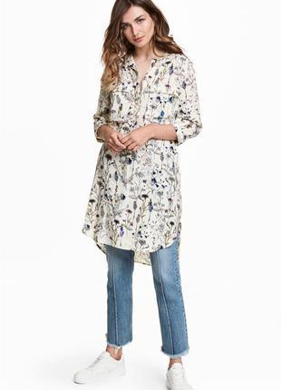 Платье-рубашка h&m в цветочный принт