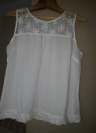 Белая блуза хлопок с кружевом