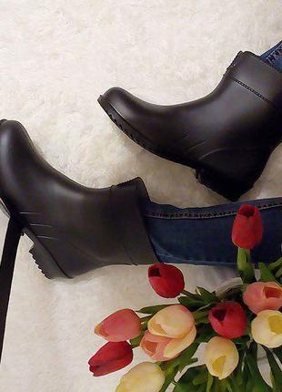 Р.  37 39 40 41 полусапоги/ сапоги резиновые женские черные