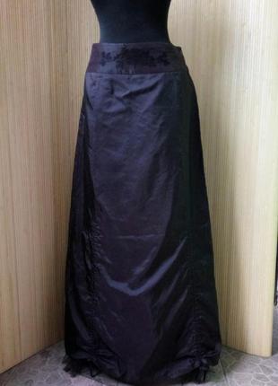 Женственная французская атласная юбка макси с фатином / с вышивкой m, l