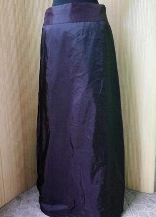 Женственная французская атласная юбка макси с фатином / с вышивкой m, l2 фото