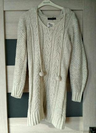 Теплая вязаная туника свитер с капюшоном