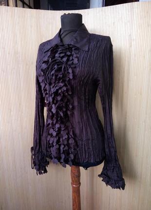 Женственная блуза натуральный фактурный шелк с рюшами сердечками m/l