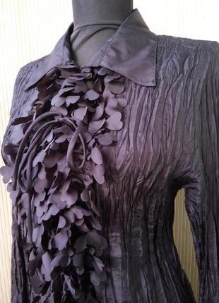 Женственная блуза натуральный фактурный шелк с рюшами сердечками m/l2