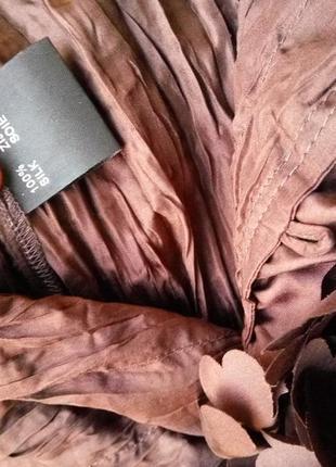 Женственная блуза натуральный фактурный шелк с рюшами сердечками m/l4