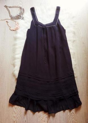 Синее натуральное легкое платье с рюшами воланы хлопок сарафан беременным