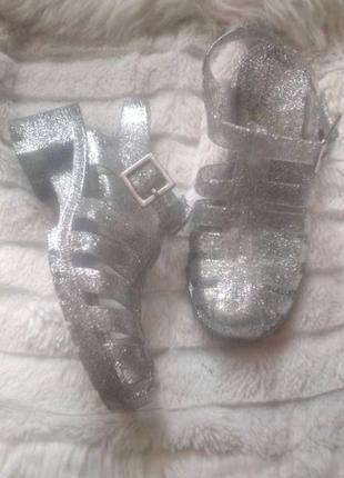 Босоножки сандалии желейные резиновые с блестками