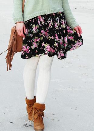 Милая юбка, мини юбка, юбка в цветочек