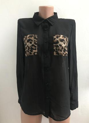 Шифоновая блуза рубашка с вставками анималистического леопардового принта сша тренд 2019