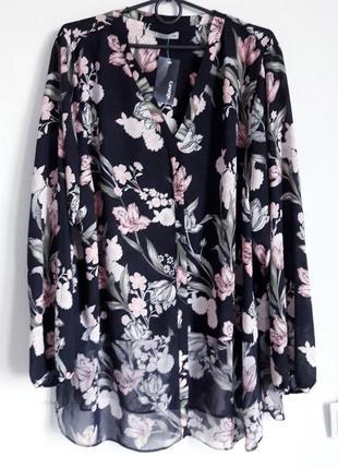 Нежная шифоновая блуза в цветочный принт для пышной красотки 22рр