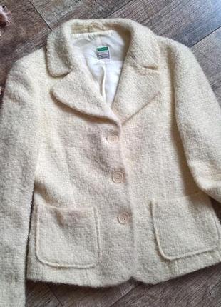 Теплый ворсистый пиджак/блейзер/жакет/полупальто от benetton-италия/лана-м