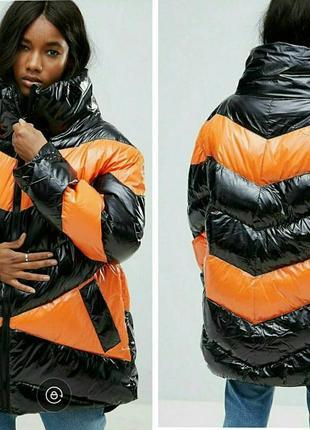 Дутая зимняя лаковая куртка,колор блок, asos ,пуховик,парка,оверсайз xxl/3xl