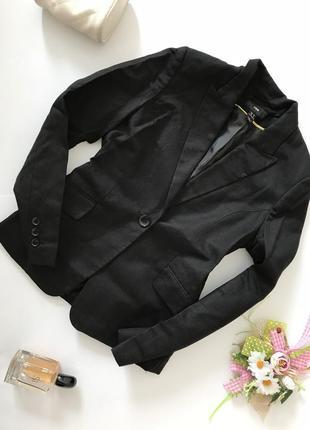 Чёрный льняной классический пиджак супер качество