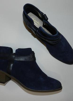 Ботильоны ботинки  clarks англия натуральный замш
