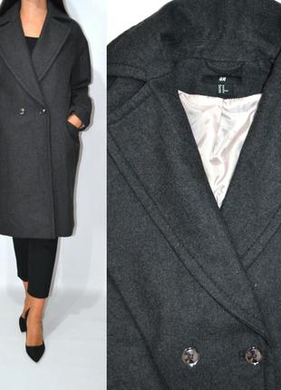 Пальто шерсть бойфренд оверсайз h&m.2 фото
