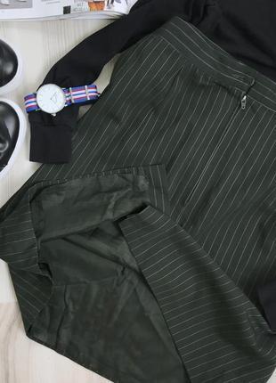 Крутая юбка в полоску высокая посадка