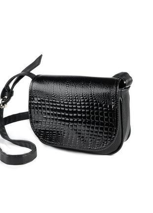 Черная маленькая лаковая сумка через плечо кросс боди под кожу питона