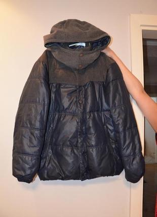 Куртка troll темно синя  з сірим капішоном та плечами