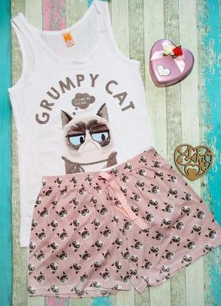 """Пижама женская """"котик"""", одежда для дома, майка шорты despicable me"""