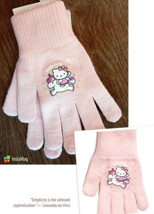 Перчатки блестящие h&m france hello kitty светло-розовые хелло китти 134/152 (8-12лет)