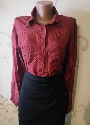 100% шелк . шикарная шелковая блузка рубашка сорочка .