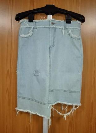💣летняя джинсовая юбка с эффектом рванки высокая талия