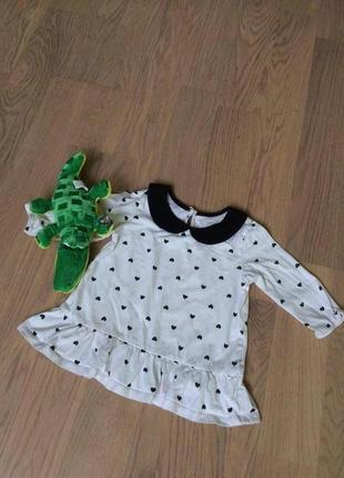 Реглан блуза с баской рукав 3/4 с сердечками от сhildren's place на 4 года