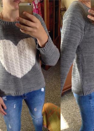 Свитшот джемпер свитер принт сердце