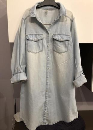 Удлиненная рубашка из денима