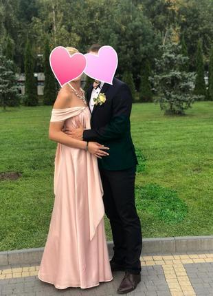 Вечернее нежное пудровое пудра длинное платье трансформер в пол. выпускное.