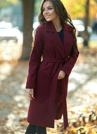 Ультрамодные кашемировое пальто на подкладе с поясом и карманами
