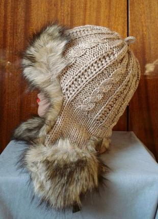 Вязаная шапка-ушанка с мехом rabionek