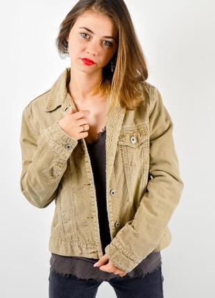 Marks&spencer вельветовая куртка с рваностями и потертостями, шерпа
