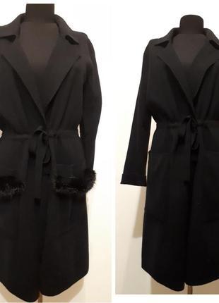 Пальто на запах, с мехом на карманах,кадиган,жакет,куртка,оверсайз m/l/xl