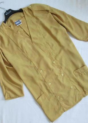 Today/винтажный двубортный удлиненный тренч жакет горчичного цвета в стиле оверсайз/ретро