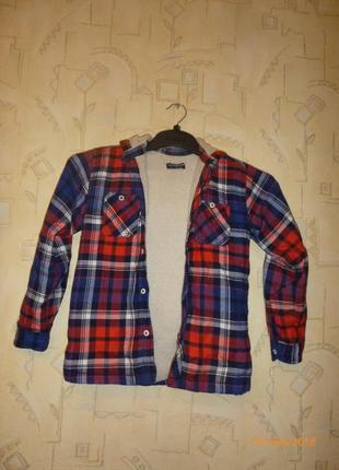 Фланелевая рубашка утепленная waikiki с капюшоном