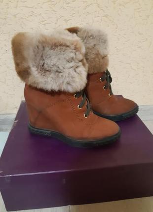 Зимние ботинки из натурального нубука