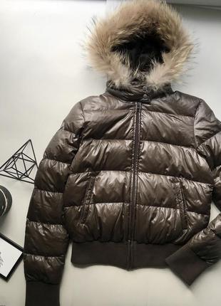 Крутая тёплая коричневая куртка пуховик  дутик / курточка