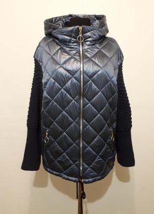Демисезонная куртка,вязаные рукава,оверсайз, дутая,пуховик,пальто xl/xxl/xxl