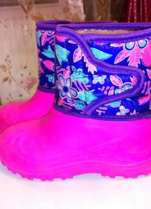Резиновые теплые сапоги для девочки
