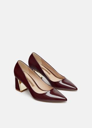 Лакированные туфли на широком каблуке  / цвет бургунди р.36, 37, 38, 39, 40