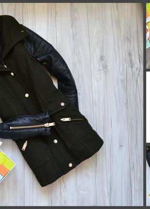 Крутое пальто с кожаными рукавами river island