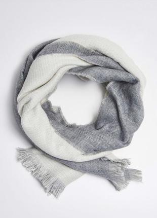 Двухсторонний серый, белый шарф плед очень теплый длинный