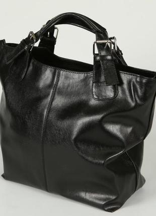 Чёрная женская большая сумка шоппер с короткими ручками и на плечо из экокожи