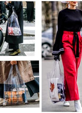 Модная прозрачная сумка кулек шопер
